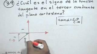 Signo de la función tangente en el tercer cuadrante