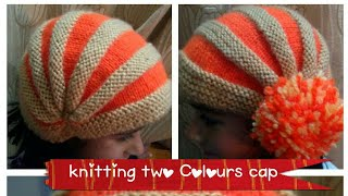 #latest two colours baby cap knitting in hindi.