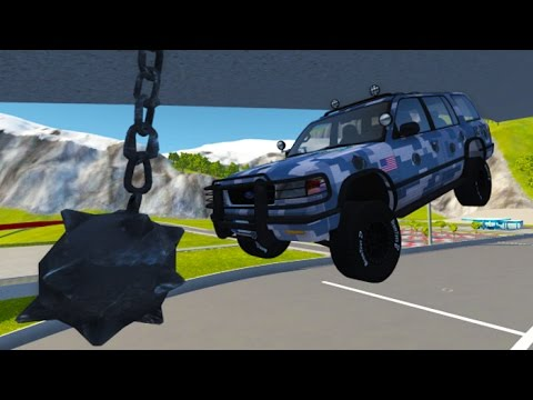 Destroying Cars With Wrecking Ball BeamNG.drive