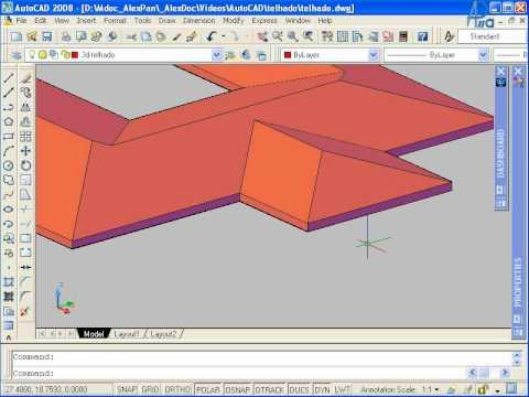 AutoCAD 3D 2008 - Aula 3: telhado - HD