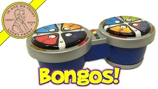 Electronic Pair of Bongo Drums, Colorful Light Up Playing Zones, Percussion Sound Effects