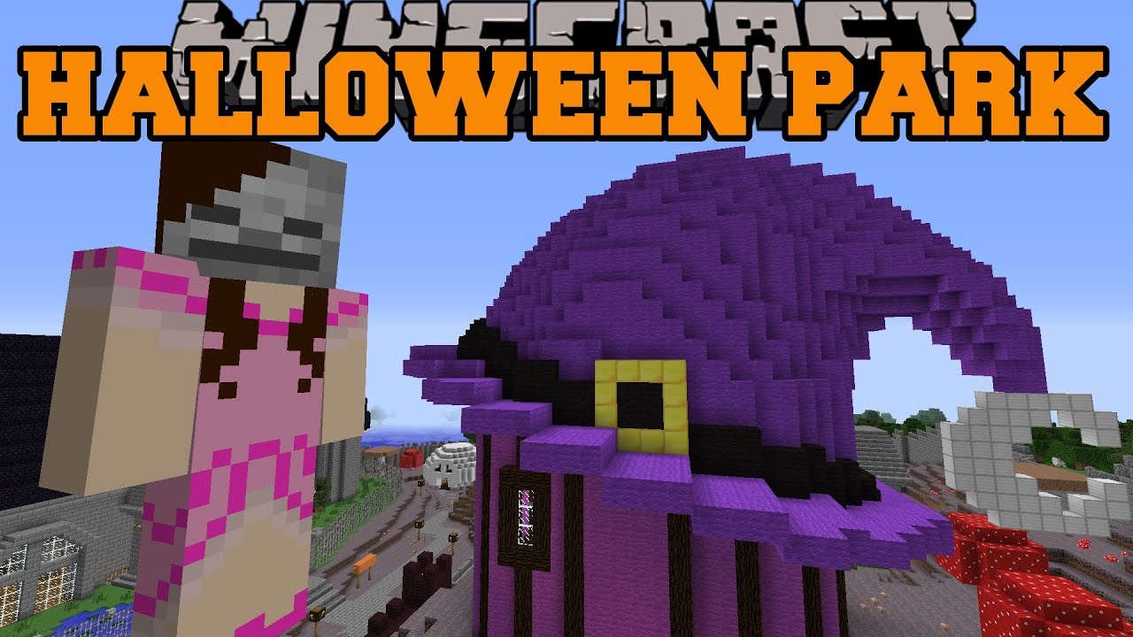 Minecraft: HALLOWEEN PARK (Witch's House, Ghost Train, & Mask Shop ...