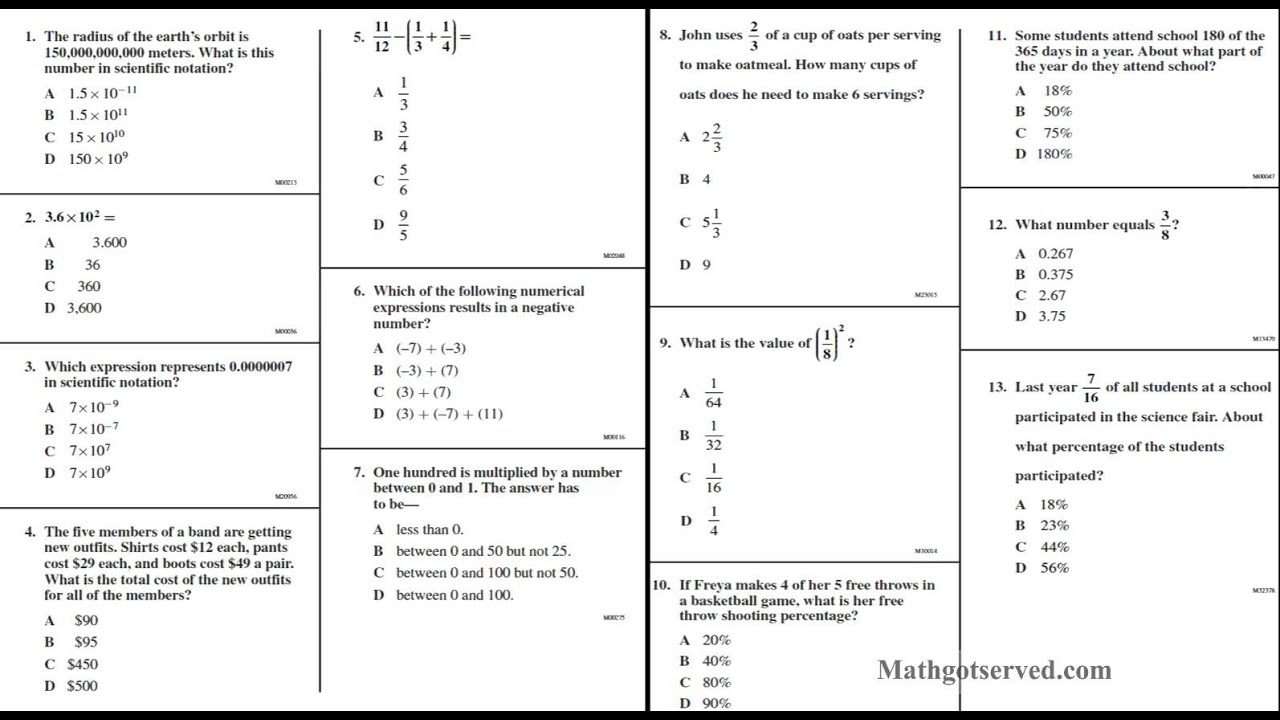 Cahsee Pt I 1to13 Interactive Worksheet Number Sense