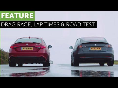 Tesla Model 3 And Alfa Romeo Giulia QV Meet For A Rainy Drag Race