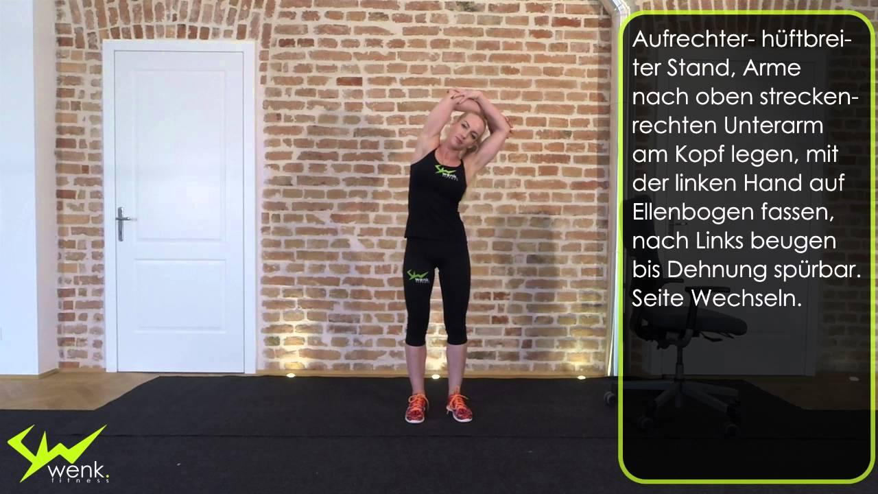 Seitliche Rückenmuskulatur dehnen - wenk.fitness [017] - YouTube