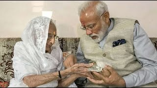 PM Modi met his mother to take her blessings before casting vote