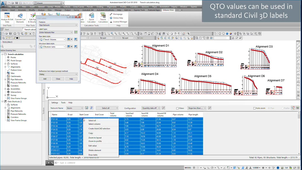 Urbano Visio – Pipe trench volume calculation for AutoCAD Civil 3D