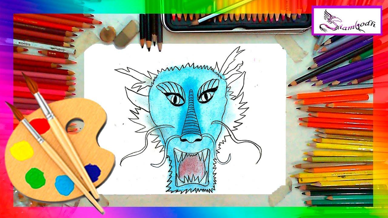 Como dibujar la Cara de un Dragón Dibujo Fácil para Niños - YouTube
