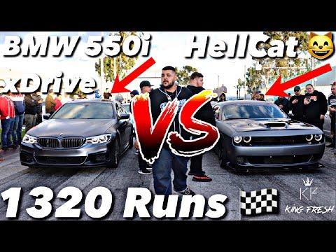 BMW 550i V.S Dodge Hellcat 1320 Christmas Runs *Epic*