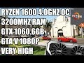 Ryzen 1600 + GTX 1060 6GB - GTA V Gameplay - Very High 1080p