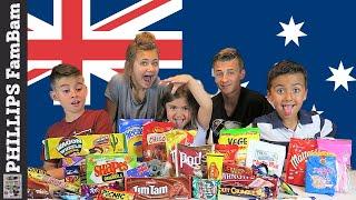 AUSTRALIAN FOOD TASTE TEST | AMERICAN KIDS EAT VEGEMITE (WRONG WAY) PHILLIPS FamBam Challenges