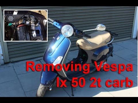 vespa lx 50 2t two stroke carburettor carb removal scooter youtube. Black Bedroom Furniture Sets. Home Design Ideas