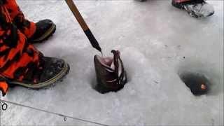 Big Steelhead Small Hole - Ice Fishing February 16, 2014
