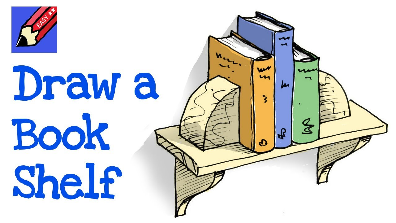 How To Draw A Bookshelf Real Easy Youtube