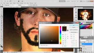 how to create a custom brush and make facial hair in photoshop voice tutorial