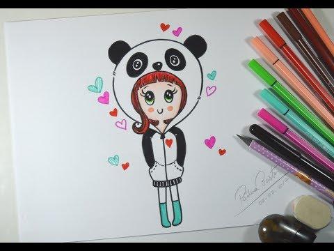 Como Desenhar Bonequinha Panda Tumblr Passo A Passo