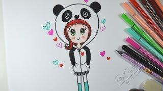 Como desenhar Bonequinha PANDA Tumblr - passo a passo