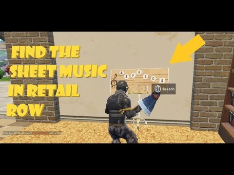 """Find the Sheet Music in Retail Row"" LOCATION WEEK  CHALLENGES Fortnite Season"