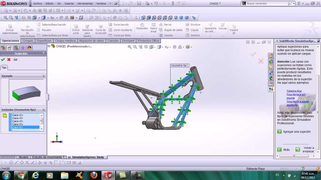 simulacion de un chasis de moto lineal solidworks - YouTube