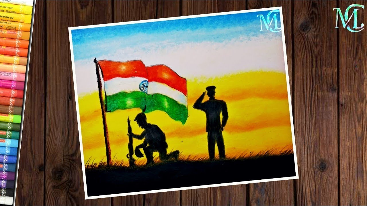How To Draw Indian Army In Border With Flag Independence Day Drawing Easy Youtube