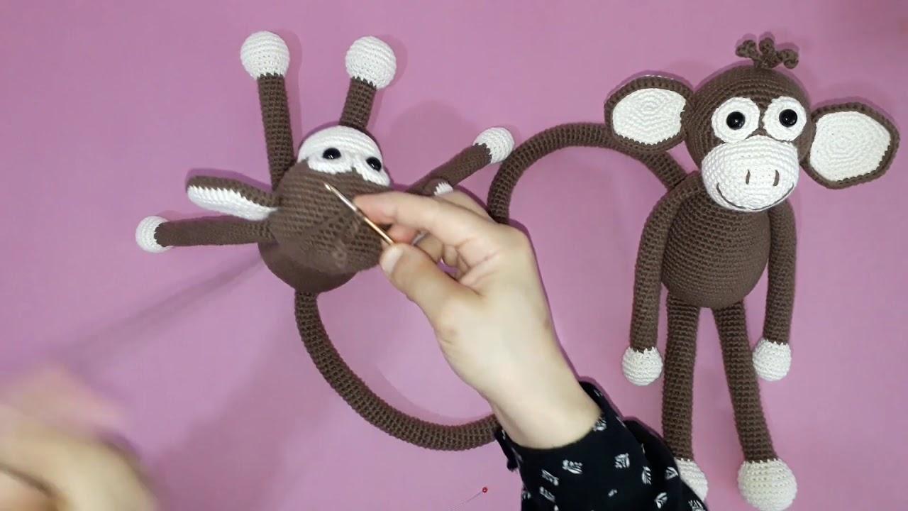 Amigurumi maymun yapımı örgü oyuncak maymun yapılışı amigurumi maymun saç örme yapımı -11