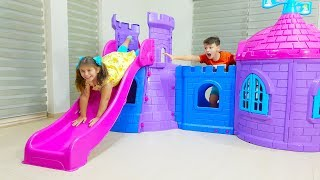 Ali build and play with pink Playhouse Castle Slide Toy for Adriana
