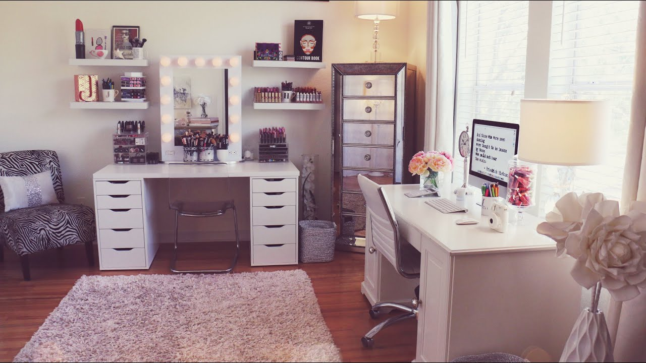 Beauty Room Tour / Makeup Collection | Jaclyn Hill - YouTube on Make Up Room Ideas  id=35423