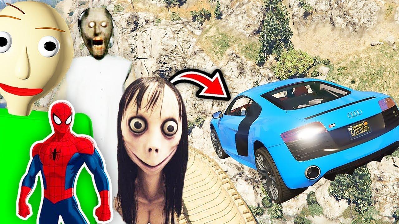 Örümcek Adam Baldi Büyükanne Momo Hızlı Arabalarla Uçuyor (Çizgi Film Tadında)