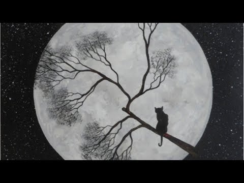 Cat On The Full Moon - Acrylic Painting On Canvas Tutorial For Beginners