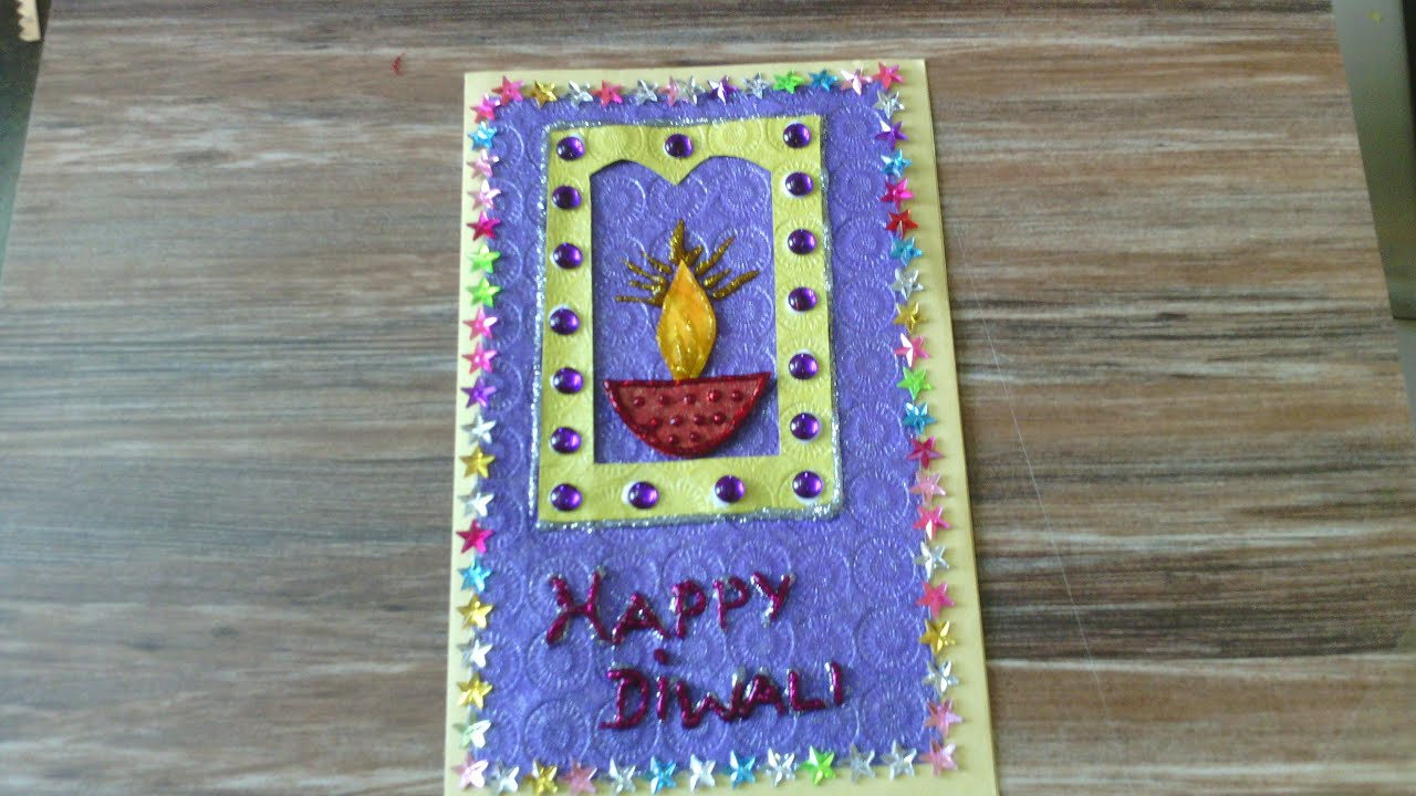 Diwali greeting card school project for kids youtube kristyandbryce Gallery