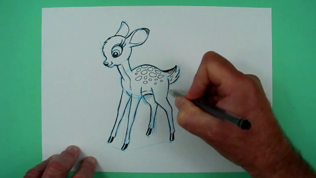 Wie Zeichnet Man Ein Rehkitz Bambi Zeichnen Für Kinder Youtube