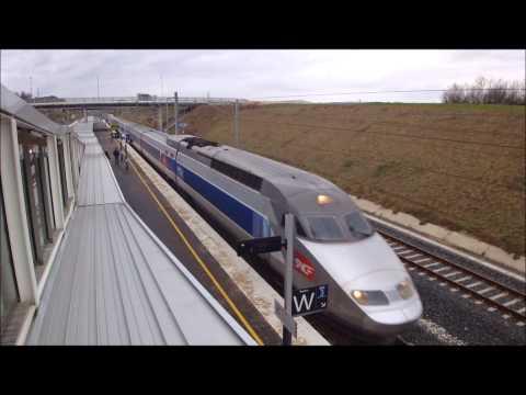 TGV Marseille-Strasbourg en gare de Belfort-Montbéliard TGV - LGV Rhin-Rhône - Déc 2012