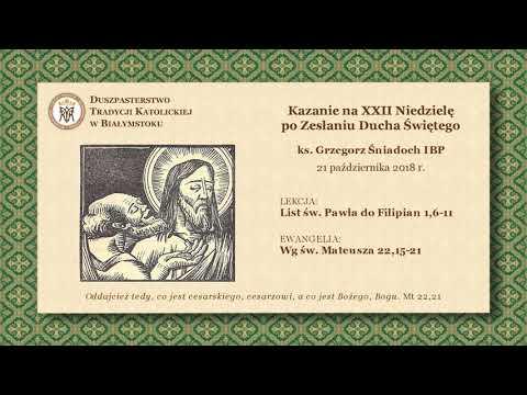 O PODATKACH – ks. Grzegorz Śniadoch IBP – 21 października 2018 r.