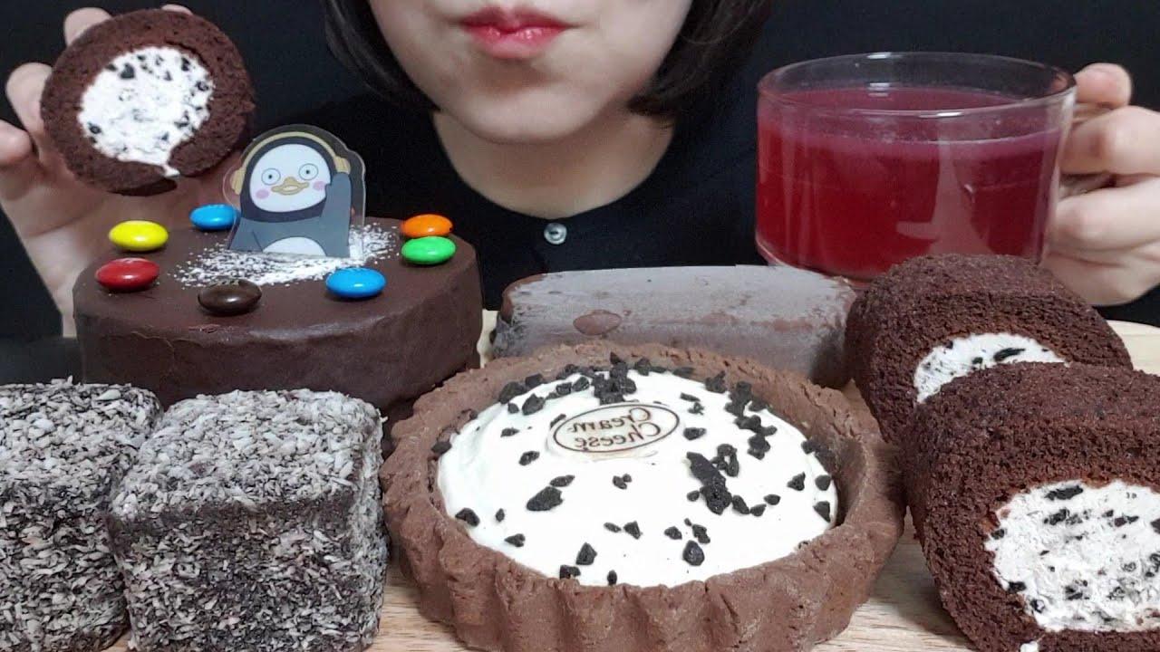 쇼콜라 케이크, 크림치즈 타르트, 레밍턴 케이크, 허쉬 쿠앤크 롤케이크, 매그넘 클래식 먹방 CAKE MUKBANG