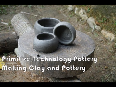 Primitive Skills: Making a Clay Pottery Bowl on the Wheel the wood - Part1