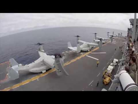 Timelapse of MV 22 Osprey on the USS Bonhomme Richard HD