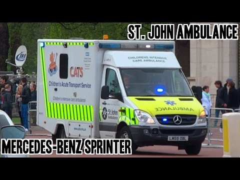 St. John Ambulance (CATs) Children's Acute Transport Service Mercedes Sprinter responding