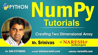 Creating Two Dimensional Array in NumPy | NumPy in Python Tutorial | Mr. Srinivas