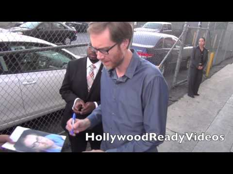 Stephen Merchant greets fans departing his Jimmy Kimmel Live appearance in Hollywood