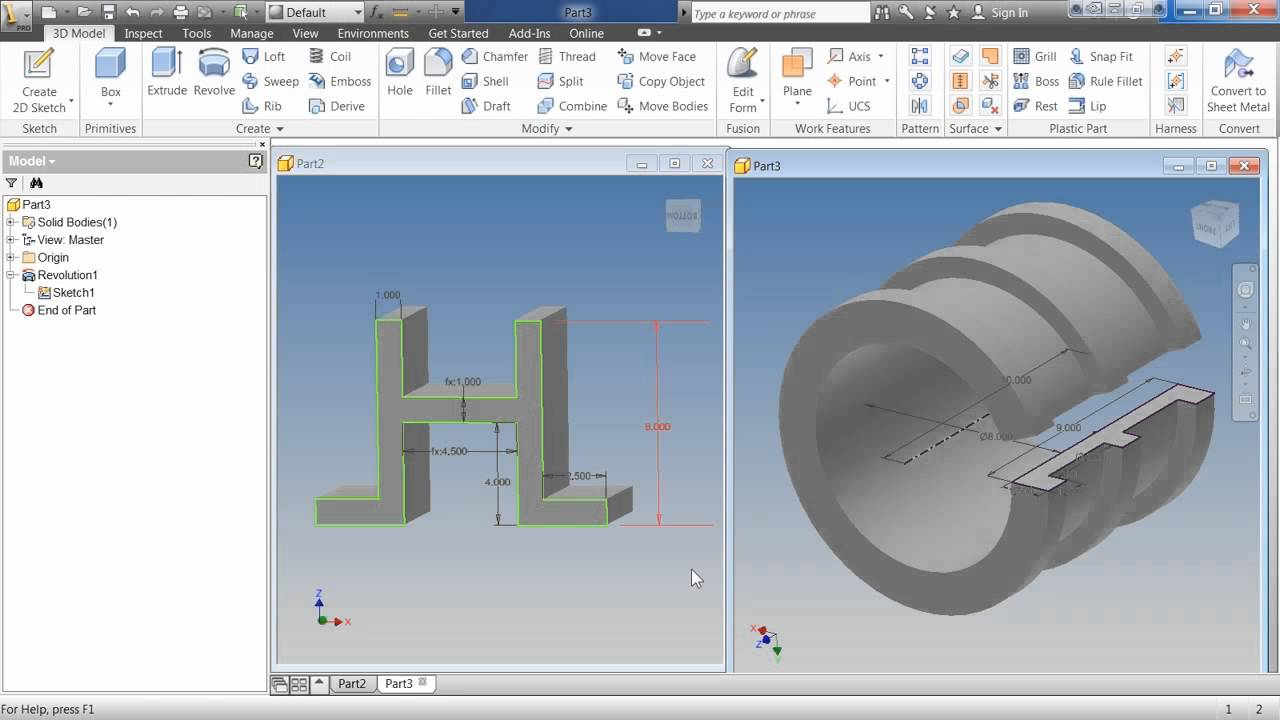 Autodesk Inventor 2013 Tutorial | Creating Base Sketched Features ...