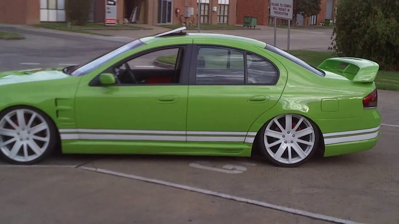 Ford Ba Bf Falcon Green Bodykits Scoop Spoiler Stripes Red