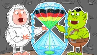 Lion Family ⌛ Journey to the Center of the Earth - Rainbow Hourglass Cartoon for Kids