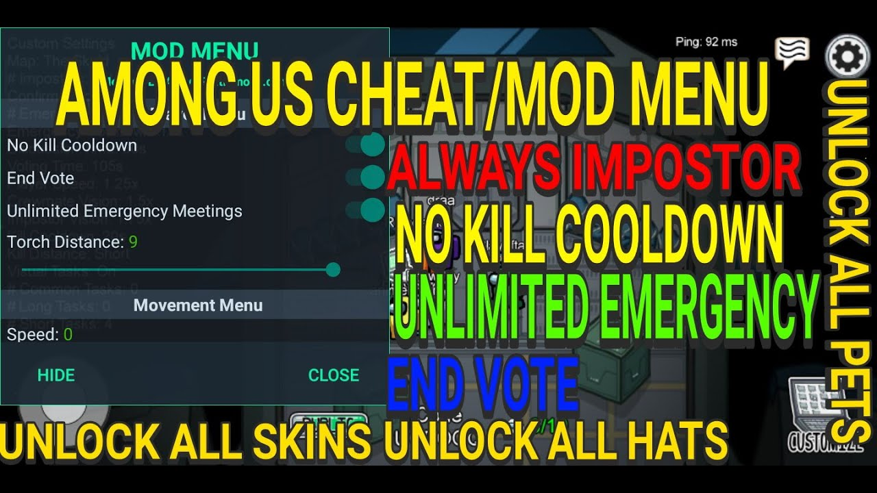 Among Us Latest Mod Menu Always Impostor No Kill Cooldown Unlimited Emergency End Vote Youtube
