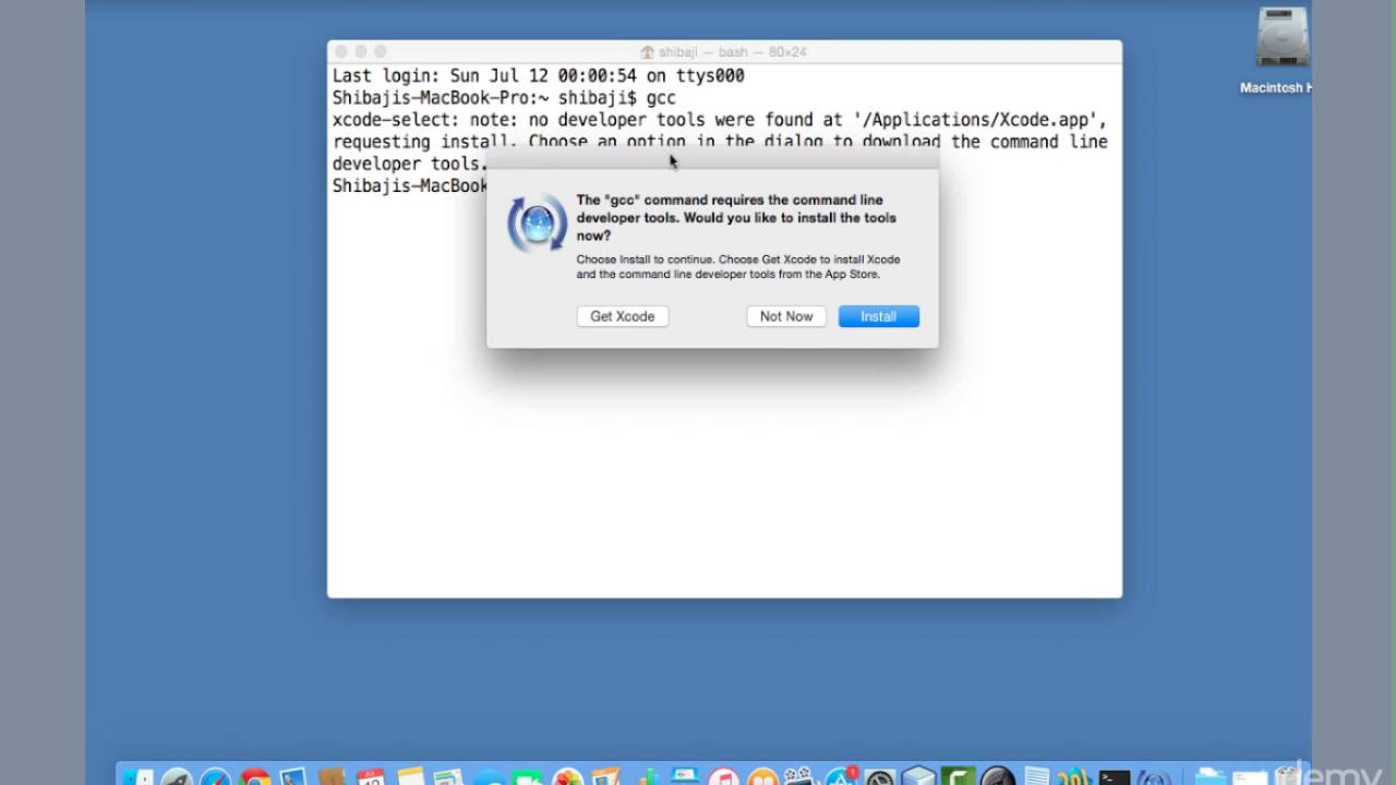 [c tutorial for beginners]:Installing xcode command line tool for Mac