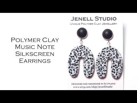 U-shape Music Note Earrings Polymer Clay Silkscreen Earrings