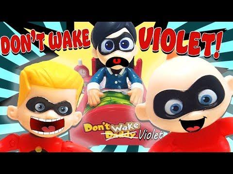 Incredibles 2 Dont Wake Daddy Game w Babysitter Violet, Hotel Transylvania 3 Dennis, & Jack Jack!
