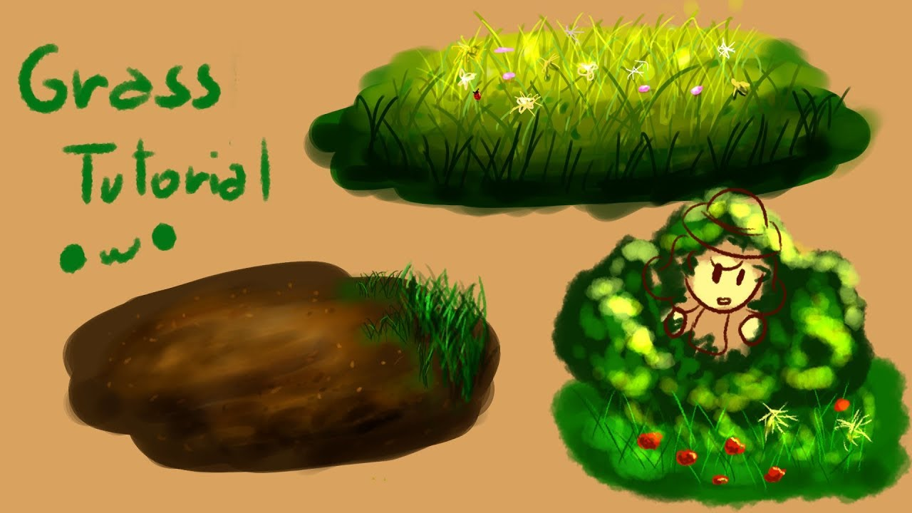How I draw grass and bushes! Speedpaint Tutorial