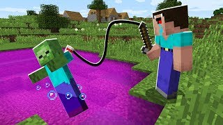 Minecraft, WHAT CAN BE CATCH IN SCARY PINK LAKE! Battle: NOOB vs PRO trolling!