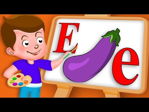 Drawing Alphabet E Letter | Eggplant Drawing Paint And Colouring For Kids | Kids Drawing TV