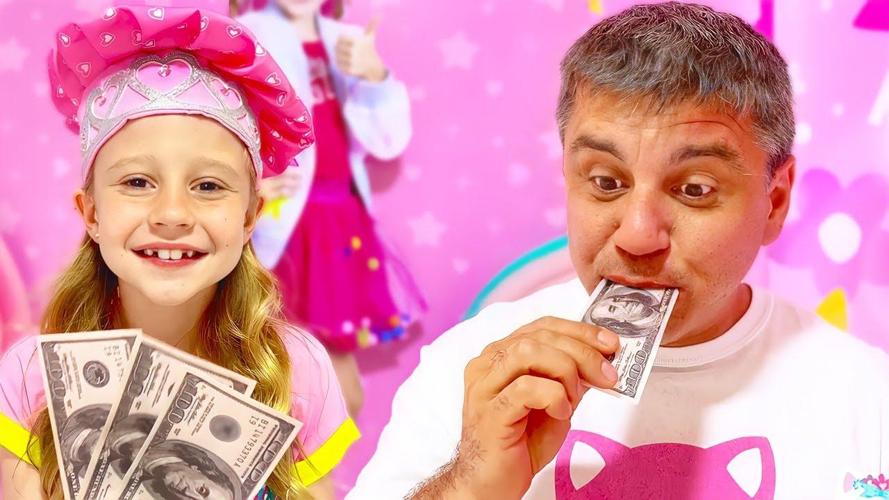Nastya mengajarkan ayah bagaimana menjadi kreatif dan inovatif